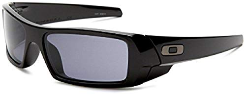 Oakley Men's OO9014 Gascan Rectangular Sunglasses, Polished Black/Grey, 60 ()