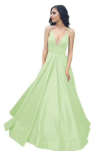 Spaghetti Pockets VinBridal Mint with Straps Dresses Ball Satin Gown Long Prom pUawUqFx