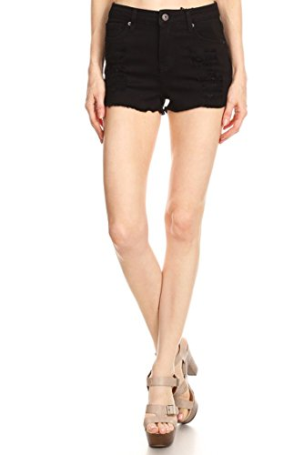 Vialumi Women's Distressed Cut Off Frayed Hem Jean Shorts Black ()