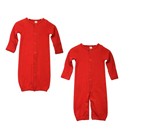 Set Convertible Gown (Laughing Giraffe Convertible Baby Gown with Foldover Mittens (Red))