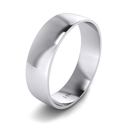 Unisex 14k White Gold 6mm Light Court Shape Comfort Fit Polished Wedding Ring Plain Band (14) by LANDA JEWEL