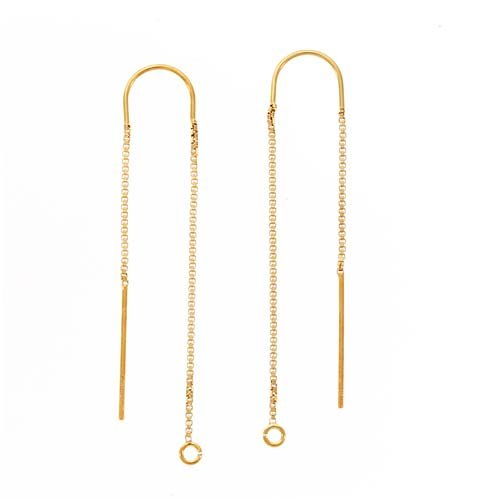 Gold Threader Thread Earrings - Beadaholique Gold Filled Ear Threads Threaders 3 Inch w/Bridge & Loop (1 Pair)