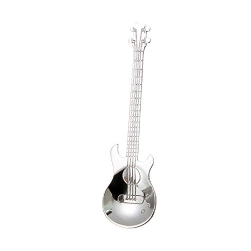 Yu2d  Stainless Steel Guitar Spoons Rainbow Coffee Tea Spoon Flatware Drinking Tools (Silver) -