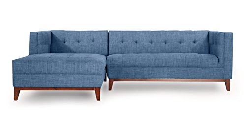 Kardiel LF-Curacao Harrison Modern Loft Sectional Left Face Sofa Chaise, Blue Tailored Twill