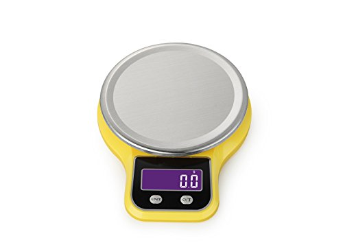 Klau Stainless Steel Digital Kitchen Scale,11 lb 5 kg/1g,Food scales with LCD Display Yellow
