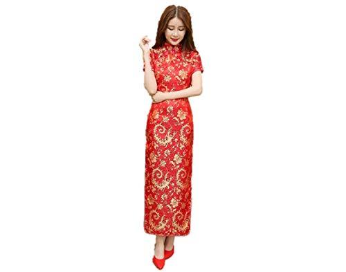Kurop Women's Sexy Red Floral Long Chinese Evening Dress Wedding Dress Cheongsam Qipao Flower Printing (M (US 2-4), Red Floral Long)