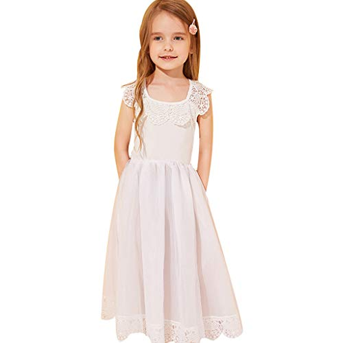 Yaseking Kids Baby Girl Dresses Toddler Lace Sleeveless Long Dresses for Party Wedding Clothes(100,White)
