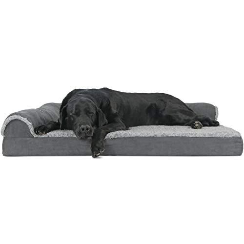 (Furhaven Pet Dog Bed | Deluxe Orthopedic Two-Tone Plush Faux Fur & Suede L Shaped Corner Chaise Lounge Sofa-Style Living Room Couch Pet Bed for Dogs & Cats, Stone Gray,)
