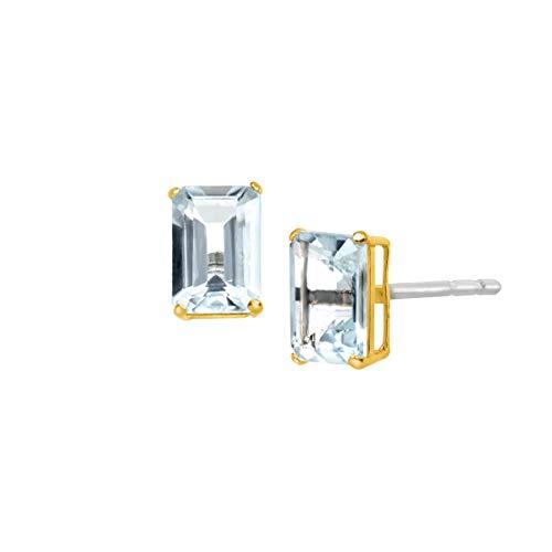 (7/8 ct Natural Aquamarine Emerald-Cut Stud Earrings in 10K Gold)