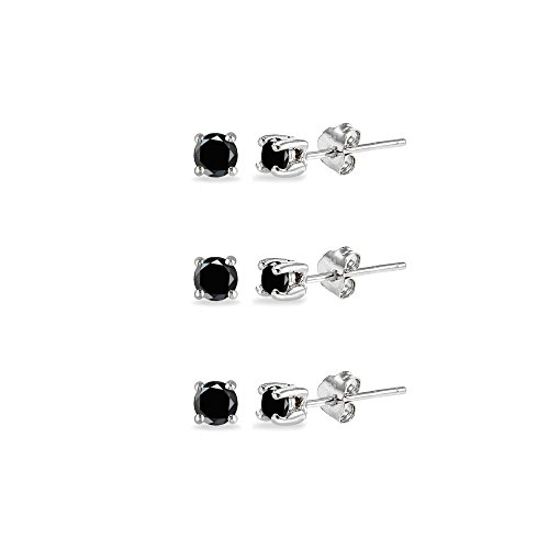 3-Pair Set Sterling Silver Black Sapphire 2.5mm Round Stud Earrings ()