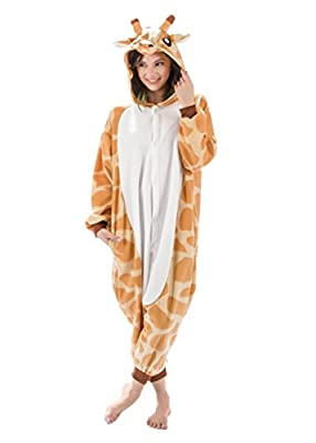 Emolly Fashion Giraffe Animal Onesie - Soft and Comfortable with Pockets! Fun As a Costume Or Pajamas - for Men Women Teens Adults! 5% of Sales Donated to San Diego Zoo Global Wildlife Conservancy