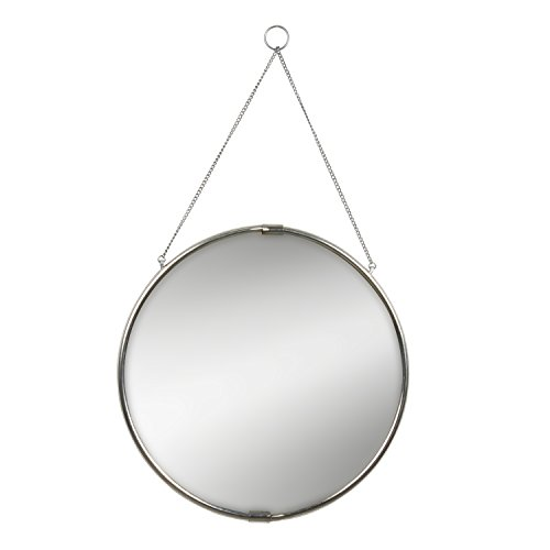 Kate and Laurel Brea Reclaimed Metal Round Silver Mirror with Hanging Chain, -