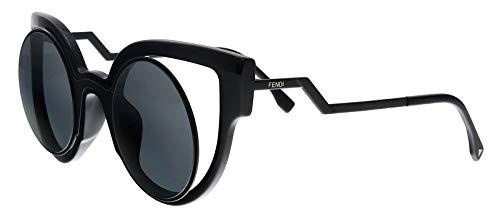 Fendi Women's Round Cutout Sunglasses, Matte Shiny Black/Dark Grey, One Size from Fendi