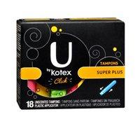 U by Kotex U par Kotex Cliquez Tampons non parfumé Super Plus, non parfumé Super Plus 18 chaque (Pack de 2)