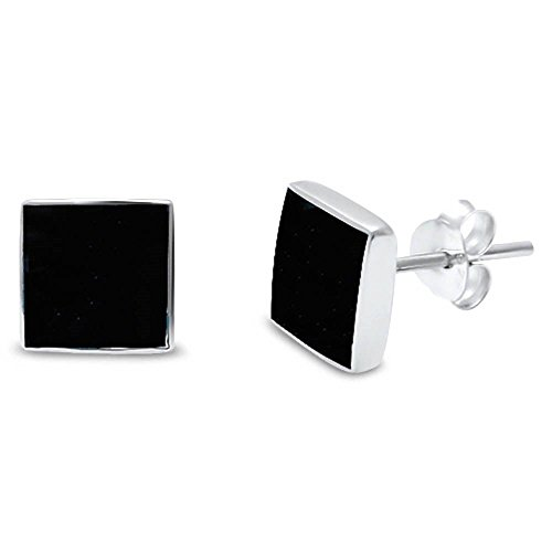 Blue Apple Co. 5mm Square Simulated Black Onyx Stud Post Earrings Solid 925 Sterling Silver