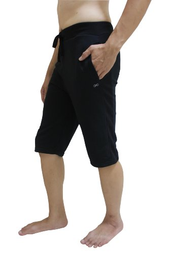 YogaAddict Men Yoga Shorts, Comfortable Pants, for Any Yoga, Pilates, Outdoor, Black - Size L