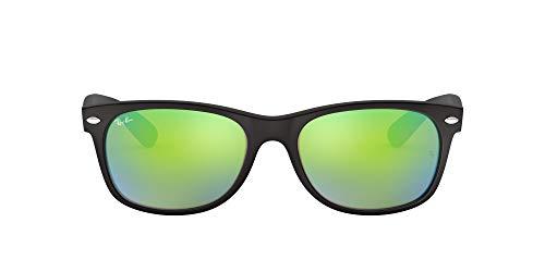 Ray-Ban RB2132 New Wayfarer Mirrored Sunglasses, Black Rubber/Green Flash, 52 mm (Ray-ban New Wayfarer Amazon)