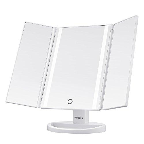 Jerrybox 3 Seiten Kosmetikspiegel mit Beleuchtung, Beleuchteter Makeup Spiegel mit 2 Klappbaren Seitenspiegeln, 180° Drehbarer Schminkspiegel mit 16 Natürliche LEDs, Einstellbar, Dimmbar, Batteriebetrieb oder mit USB-Kabel Verbunden, Weiß
