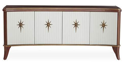 Global Views Luxe Solid Walnut Star Media Cabinet   Curved MidCentury Modern White Dark Wood