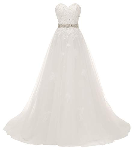 Nicefashion Women's Gorgeous Sweetheart Beaded Lace A Line Wedding Dress with Detachable Bowknot Ivory US8