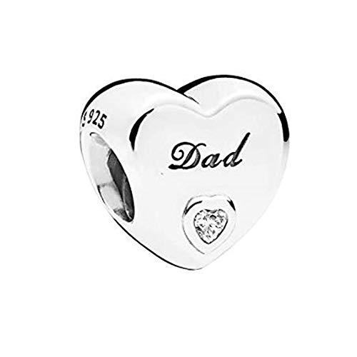 Romántico Amor Heart Love Dad Father Charm 925 Sterling Silver Clear CZ Bead fit Pandora Bracelets