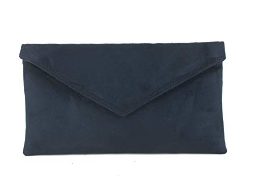 Loni Womens Neat Envelope Faux Suede Clutch Bag/Shoulder Bag in Navy