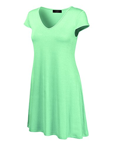 Made By Johnny WDR1068 Womens V Neck Cap Sleeve T Shirt Dress XL Mint