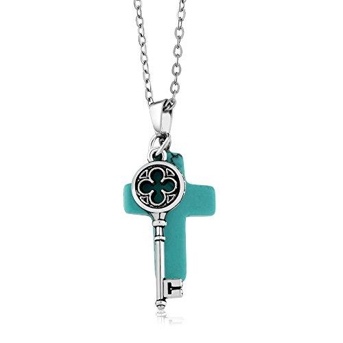 Beautiful Turquoise Pendant - Gem Stone King Beautiful Cross Shape Simulated Turquoise Pendant With Key Charm On 18