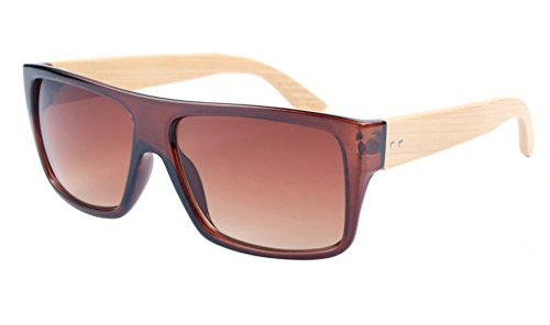 FENGJI Wooden Bamboo Sunglasses Temples Classic Aviator Retro Square Wood Sun glasses Color - Mirror Ii Blue Aviator Ray Light