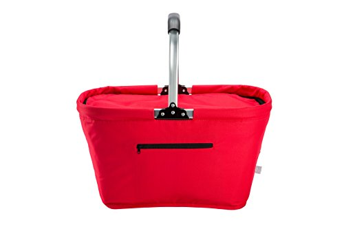 Lightweight Collapsible Foldable Insulated Thermal Picnic Bag Basket Cooler w/ Aluminum Handle, Large Family Size(Red)