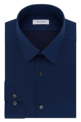 Calvin Klein Men's Dress Shirt Slim Fit Non Iron Herringbone, Blue Velvet 16.5