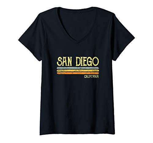 Womens Vintage San Diego California Love Gift Souvenir V-Neck T-Shirt
