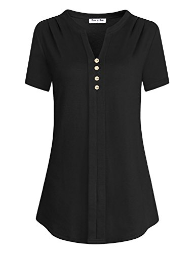 (Becanbe Henley Shirts for Women, Laides Short Sleeve V Neck Sweatshirt Lightweight Pullover Loose Fitting Tees Active Cotton Curved Hem Tunic A-Line Nice Basic Baggy Tops(Black,X-Large))