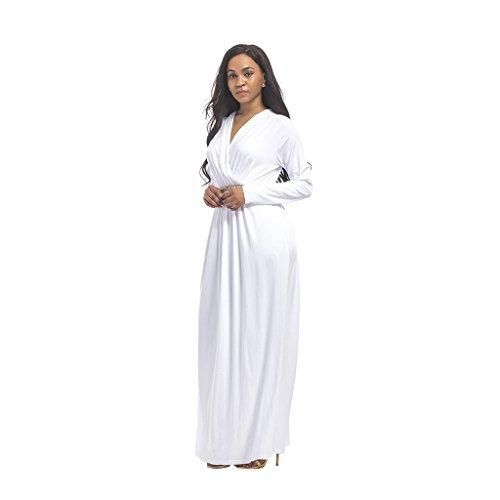 M&A Vestido Maxi Largo Mujer Cuello V Manga larga Cinturón Blanco