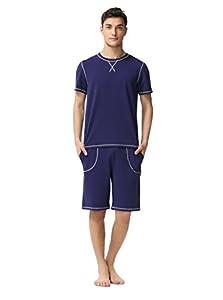 Suntasty Men's Summer Soft Round Neck Long Sleeve Cropped Pajama Sleepwear
