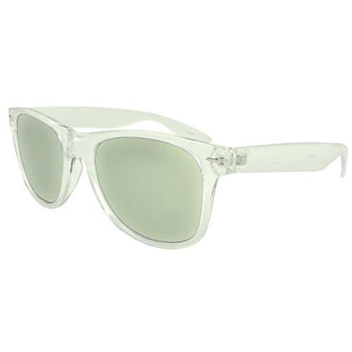 MLC Eyewear 'St. Lucas' Retro Square Fashion Sunglasses in Clear Frame Mirror - Mirror Sunglasses Finish