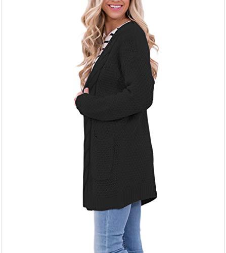 Vestes Pullover Cardigan Simple Jeune Manches Tops Longues Fashion Mi en Chandail Hauts Outwear Automne Gilets Longue Maille Hiver Coat Noir Tricots Pull Sweater Casual Manteau Femmes Mode vCfCqgwp