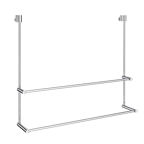 (Smedbo No Drill Adjustable Mount Double Towel Rail for Glass Shower Panel, Polished Chrome)