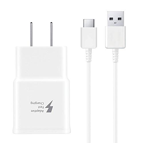 harger Adapter with USB Type C to A Cable Cord Compatible Samsung Galaxy S10 / S9 / S9+ / S8 / S8 Plus/Active/Note 8 / Note 9 and More(White) ()