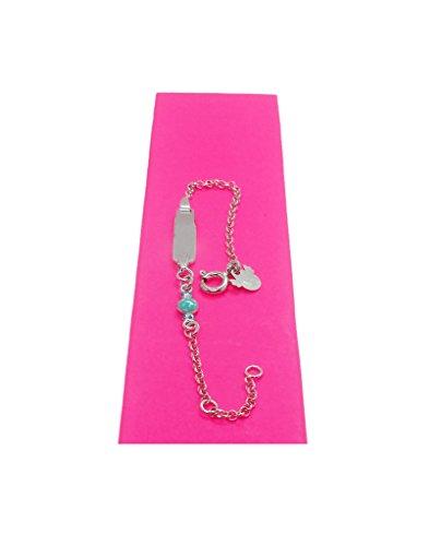 Bracelet en argent de loi avec plaque pour nom et amour émaillé Violet (Grabacion incluse dans le prix), marque lapetra.