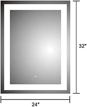DECORAPORT 24x 32 Bathroom Mirror Vertical Anti-Fog Wall Mounted Makeup Mirror with LED Light Over Vanity DK-D-CK010