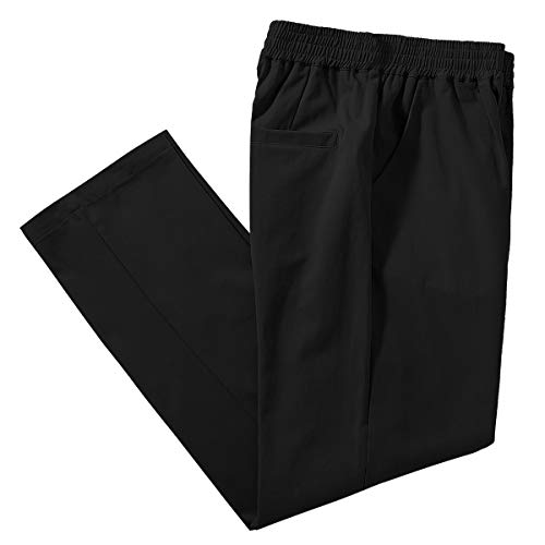 IDEALSANXUN Men's Casual Cotton Pant Elastic Waist Loose Twill Pants (42, Twill Black)