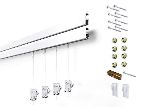 8 Hanging Components STAS Cliprail Pro Picture Hanging System Kit- Heavy Duty Track and Art Hanging Gallery Kit for Home, Office or Public Space (4 Rails 8 Hooks and Cords, White Rails) (Stas Picture Hanging Systems)