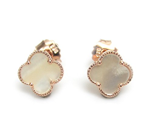 - ZilverPassion Mother of Pearl Four Leaf Clover Sterling Silver Earrings (rose-gold-flashed-silver)
