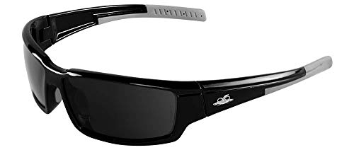 Bullhead Safety Eyewear BH145712 Maki, Shiny Black Frame, Polarized Mirror Lens, Gray TPR Nose and Temple (1 Pair) (Black Shiny Lens Frame)
