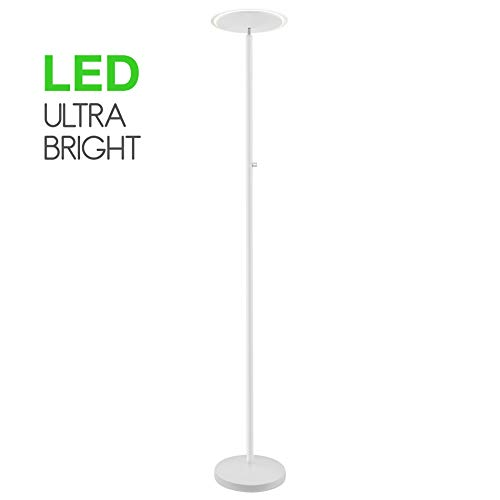 Kira Home Horizon 70'' Modern LED Torchiere Floor Lamp (36W, 300W eq.), Glass Diffuser, Dimmable, Timer and Wall Switch Compatible, Adjustable Head, 3000k Warm White Light, White Finish by Kira Home (Image #8)