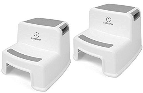 (2 Pack) Dual Height Step Stool for Toddlers & Kids, Nursery Step Stool Potty Training Stool for Bathroom, Kitchen, Two-Step Design with Soft No-Slip Grips and Safe, White & Grey, by Luxenno by LUXENNO (Image #8)