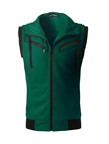 Allegra K Men Ribbed Hem Two Pockets Drawstring Hooded Vest M Green