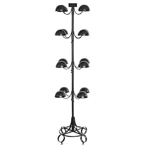 Commercial Metal 16 Dome-Shaped Hat Wig Display Stand with Rotating Tiers & Sign Holder, Black by MyGift