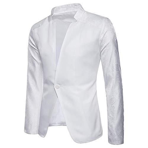 Fit Bianco Maniche Costume Slim Uomo Festivo Cappotto Abito Giacca Giacche Da Lunghe xqPt4HYZ